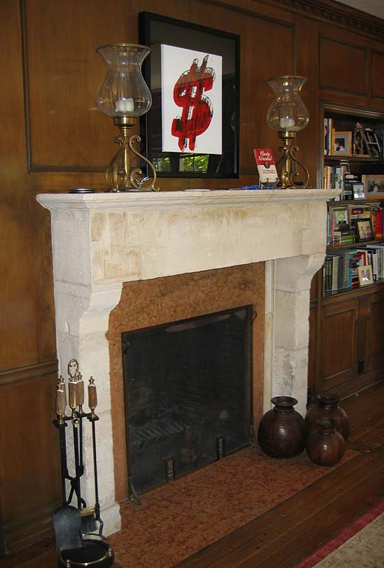Custom Fireplace in Antique Limestone Block