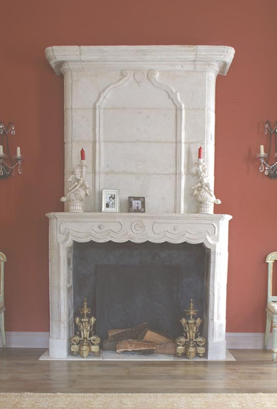 New Limestone Fireplace